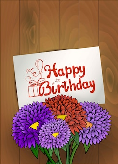Happy birthday greeting card with bouquet of flowers