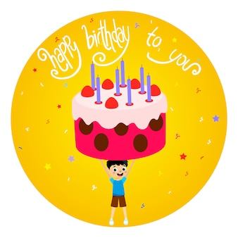 Happy birthday greeting card with boy and huge cake illustration