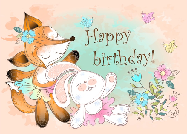 Happy birthday greeting card with a bunny and a cute fox.