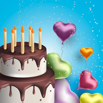 Happy birthday greeting card with cake and balloons