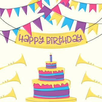 Happy birthday greeting card with cake and ribbon party