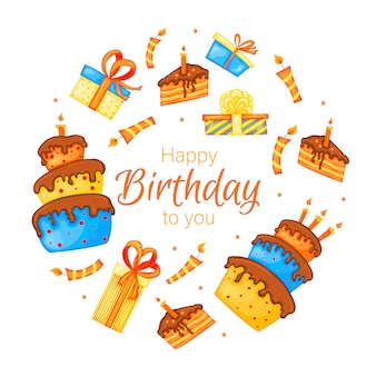 Happy birthday greeting card with cakes, gifts and candles