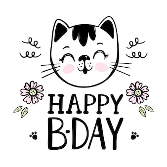 Happy birthday greeting card with cat and flowers. cartoon hand drawn sketch with handwriting text clip art