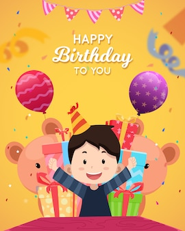 Happy birthday greeting card with character
