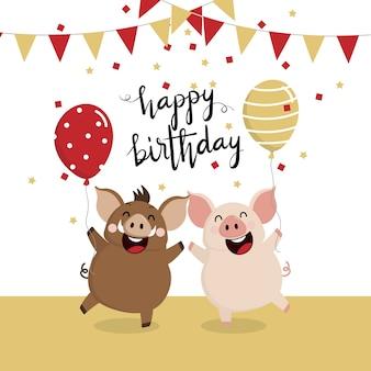 Поздравительная открытка с днем рождения с милым кабаном и свиньями