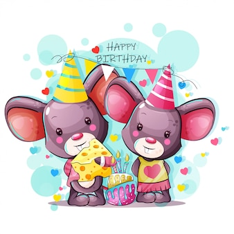 Открытка с днем рождения с милой мультипликационной мышкой