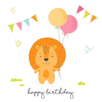 Happy birthday greeting card with cute cartoon scandinavian style lion holding colorful balloons with flags garlands around and hand written typography. teddy animals baby design. vector illustration