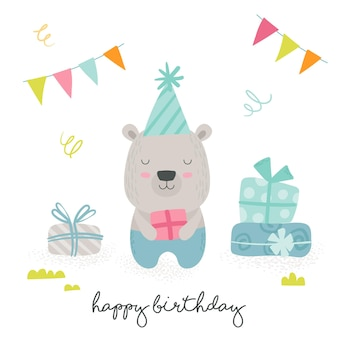 Happy birthday greeting card with cute cartoon scandinavian style teddy bear holding wrapped gift box with flags garlands around and hand written typography. baby animals design. vector illustration