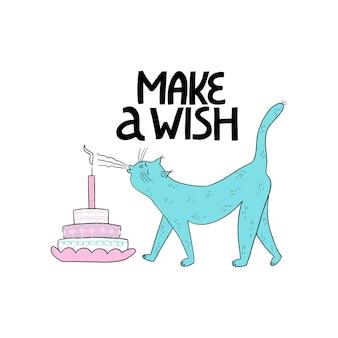 かわいい猫とケーキが付いたお誕生日おめでとうグリーティングカード手渡しのレタリングが願い事をします誕生日パーティー