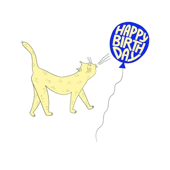 Happy birthday greeting card with cute cat and balloon. birthday party. vector illustration