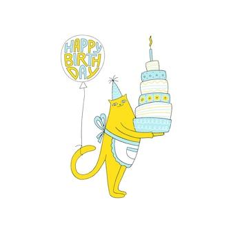 Поздравительная открытка с днем рождения с милым котом, тортом и воздушным шаром. день рождения. векторная иллюстрация