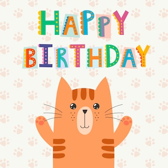Happy birthday greeting card with a cute cat and funny text