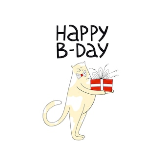 Happy birthday greeting card with cute cat and lettering happy bday