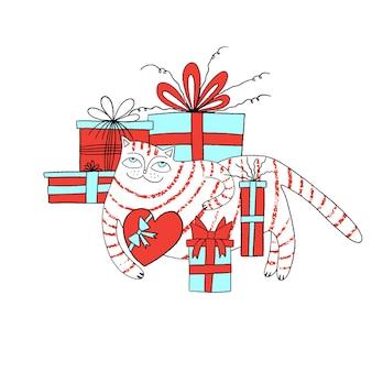 귀여운 고양이와 손으로 그린 레터링 해피 bday 생일 파티와 함께 생일 축하 인사말 카드