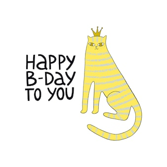 Happy birthday greeting card with cute cats and handdrawn lettering happy bday to you