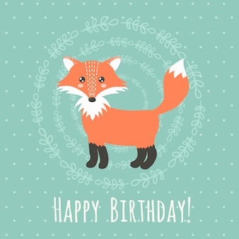 Happy birthday greeting card with a cute fox. vector illustration