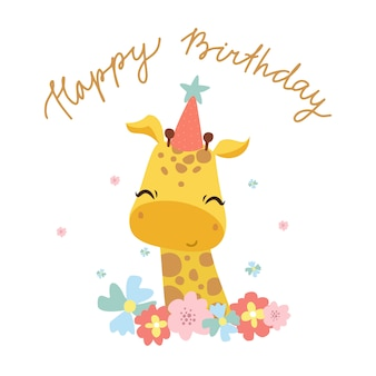 Happy birthday greeting card with cute giraffe