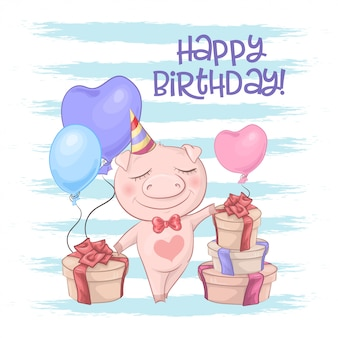 Happy birthday greeting card with cute pig with balloons.