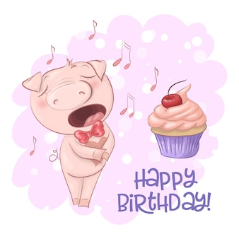 Happy birthday greeting card with cute singing pig with a cupcake and notes. cartoon style