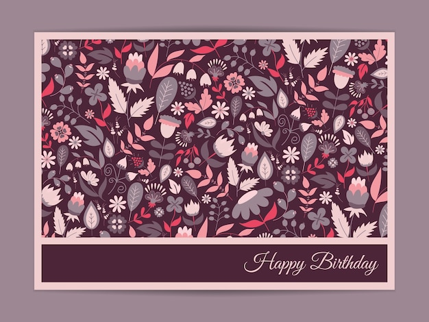 Happy birthday greeting card, with flowers