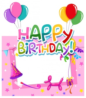 Happy birthday greeting card with frame for photo
