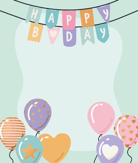 Открытка с днем рождения с гирляндой и воздушными шарами