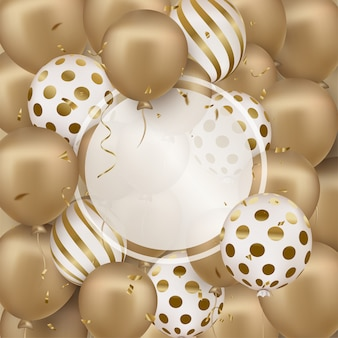Happy birthday greeting card with golden 3d balloons, round frame.