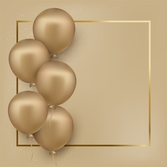 Happy birthday greeting card with golden balloons gilded