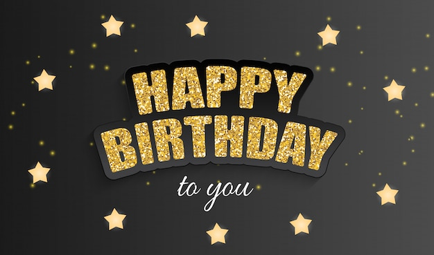 Happy birthday greeting card with golden stars