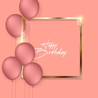 Happy birthday greeting card with helium balloons.