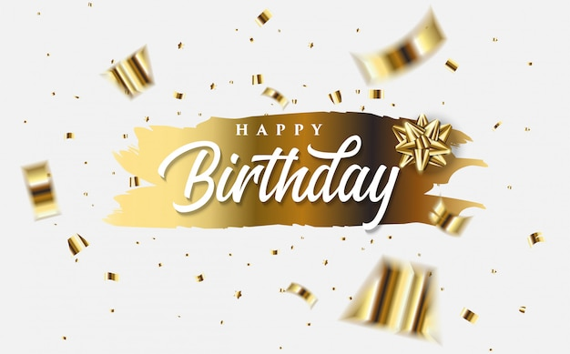 Happy birthday greeting card with illustrations of gold folio pieces of paper and the words happy birthday white on gold.