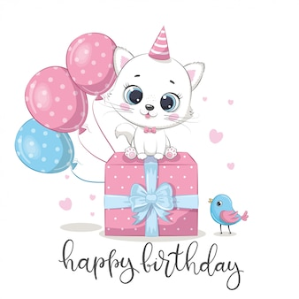 Happy birthday greeting card with kitten.