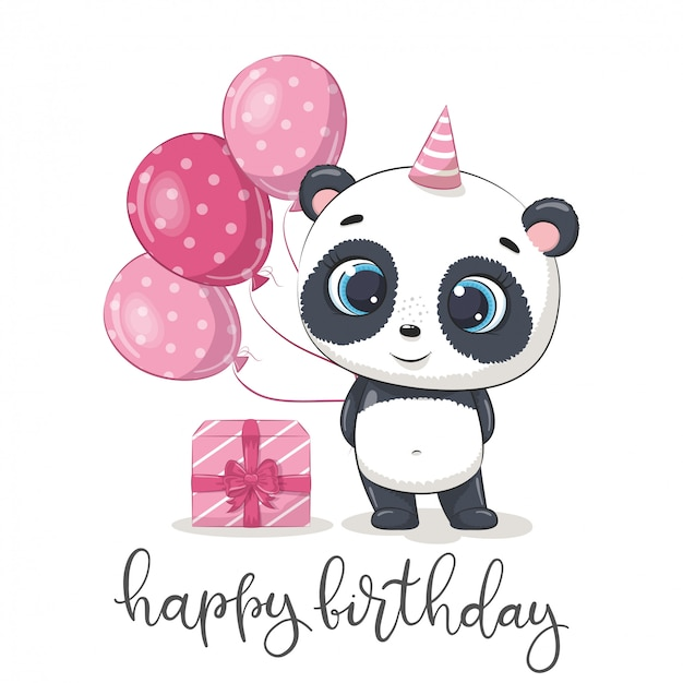 Happy birthday greeting card with panda.
