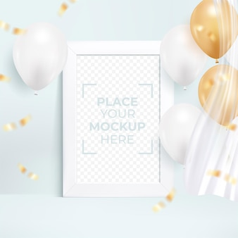 Happy birthday greeting card with photo frame Premium Vector