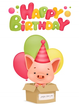 Happy birthday greeting card with pig cartoon character. vector illustration