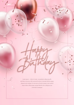 Happy birthday greeting card with realistic balloons