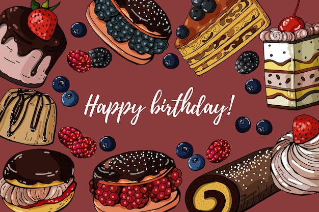 Happy birthday greeting card with sweets cakes