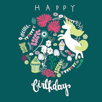 Happy birthday greeting card with unicorn floral art