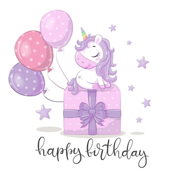 Happy birthday greeting card with unicorn.