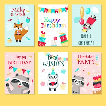 Happy birthday greeting cards.hand drawn s for kids birthday with cute animals pandas, raccoons, foxes with balloons, gift boxes, cakes, hearts, string flags party decorations.