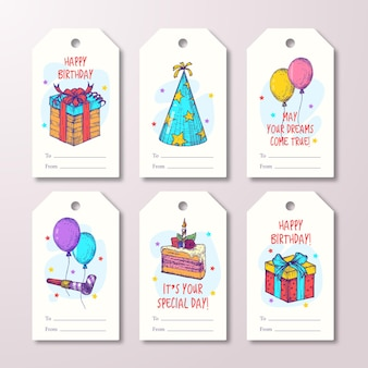 Happy birthday greeting cards or readytouse gift tags or labels templates set hand drawn cake balloo...