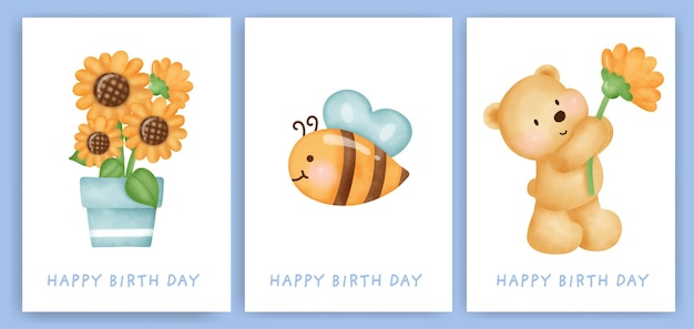 Happy birthday greeting cards set with cute bear.