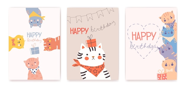 Happy birthday greeting cards with funny cats vector illustration
