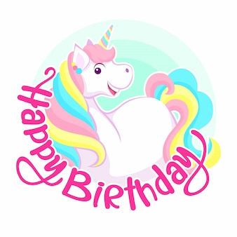 Happy birthday greeting. smiling colorful unicorn