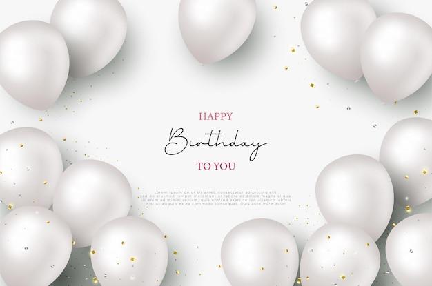 Поздравление с днем рождения с разложенными 3d воздушными шарами