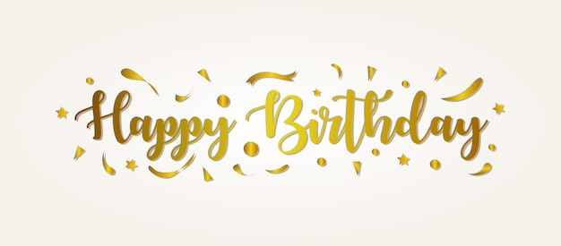 Happy birthday greeting with gold color