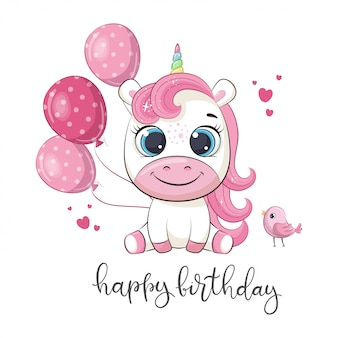 Happy birthday greeting with unicorn.