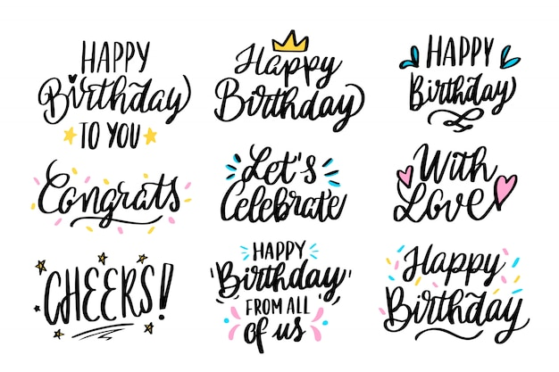 Happy birthday greetings lettering