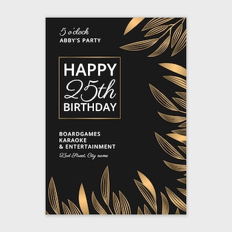 Happy birthday hand drawn card template
