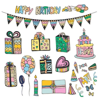 Happy birthday hand drawn decorations. doodle vector set with cakes, gift boxes and other party elements